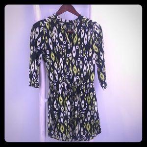 Aqua Ikat Print Dress